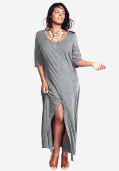 Button Front Maxi Dress, DARK CHARCOAL, hi-res