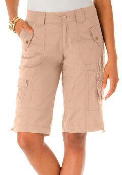 Cargo Shorts with Adjustable Bungee Hem, NEW KHAKI, hi-res