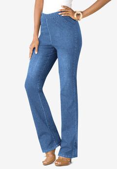 Pull-On Stretch Denim Bootcut Jean by Denim 24/7®, LIGHT STONEWASH SANDED
