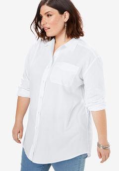 Button-Front Boyfriend Shirt,