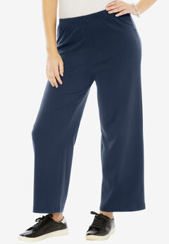 Soft Knit Wide Leg Pant, NAVY, hi-res