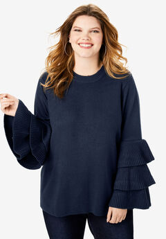Tiered-Sleeve Sweater, NAVY