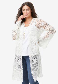 Floral-Lace Crochet Duster,