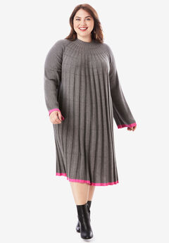 Swing Sweater Dress with Contrast Trim,