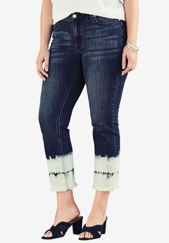 Tie-Dye Crop Jean by Denim 24/7®, INDIGO WASH, hi-res