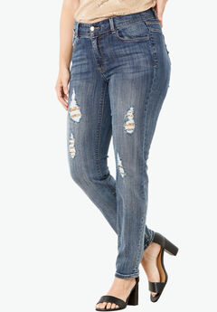 Sequin Skinny Leg Jean by Denim 24/7®, GOLD, hi-res