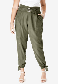 High-Waist Utility Pant with Tie Belt, DARK OLIVE GREEN