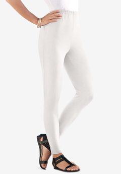 Ankle-Length Stretch Legging, WHITE