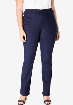 Pull-On Stretch Denim Straight-Leg Jean by Denim 24/7®, INDIGO WASH