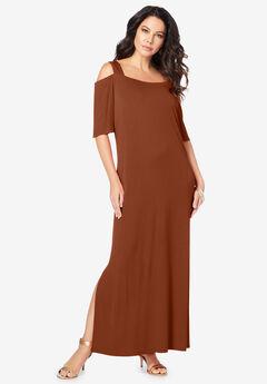 Ultrasmooth® Cold-Shoulder Maxi Dress, HONEY BROWN