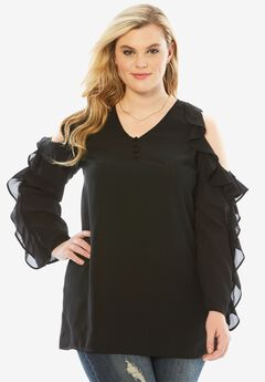 Cold Shoulder Ruffle Top, BLACK, hi-res
