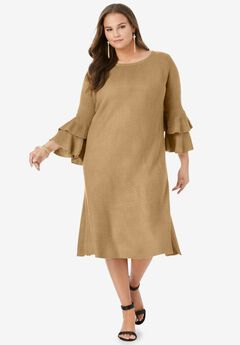 Ruffle Bell-Sleeve Dress,