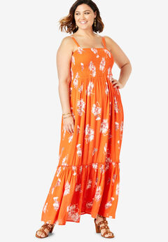 Removable Strap Maxi, RED PAINTERLY FLORAL