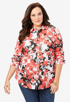 Long-Sleeve Kate Shirt, GERANIUM GRAPHIC FLORAL