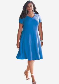Seamed Flare Dress, BRIGHT COBALT, hi-res