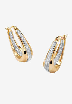 Gold-Plated Hoop Earrings with Diamond Accent,