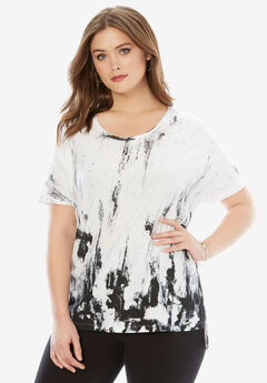 Textured Slub Tunic, WHITE PRINT, hi-res