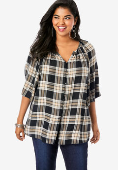 Bell-Sleeve Blouse, BLACK CLASSIC PLAID