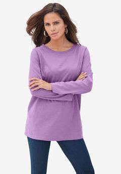 Long-Sleeve Crewneck Ultimate Tee, DUSTY LAVENDER