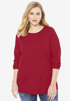 Ultimate Long-Sleeve Crewneck Tee, CLASSIC RED, hi-res