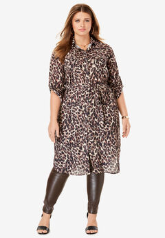 Button-Front Ultra Tunic, BROWN LEOPARD PRINT
