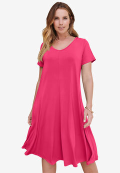 Ultrasmooth® V-Neck Swing Dress,