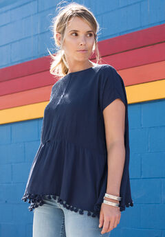 Fringe Tassel Shirt by Denim 24/7, NAVY, hi-res