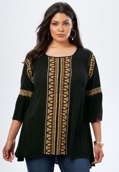 Boho Embroidered Top, BLACK, hi-res