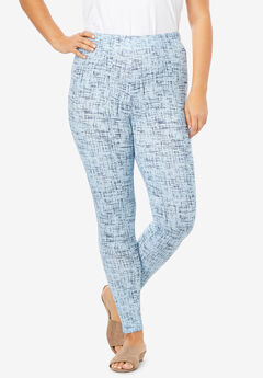 Ankle-Length Essential Stretch Legging, BLUE GRAPHIC TEXTURE