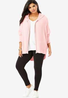 Hoodie Cardigan with Dolman Sleeves, SOFT BLUSH