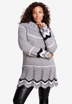 Chevron Border Sweater, GUNMETAL STRIPE