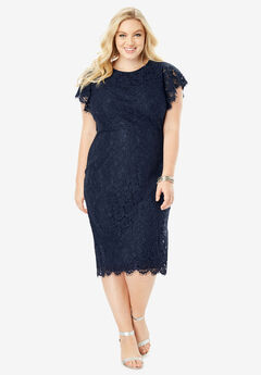 Lace Sheath Dress with Flutter Sleeves, NAVY