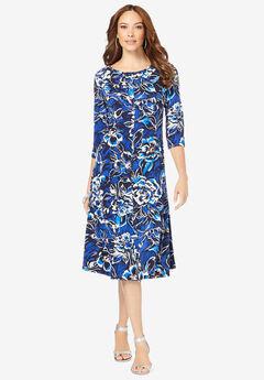 Ultrasmooth® Boatneck Swing Dress,