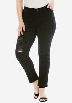 Distressed Jean with Invisible Stretch® by Denim 24/7®, BLACK DENIM
