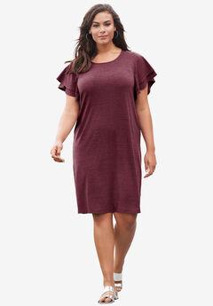 Ruffle-Sleeve Dress, VINTAGE PLUM, hi-res
