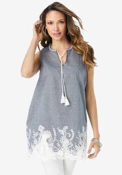 Lace Chambray Sleeveless Tunic,