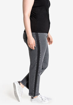 Contrast Side Panel Slim Leg Jean Castaluna by La Redoute,