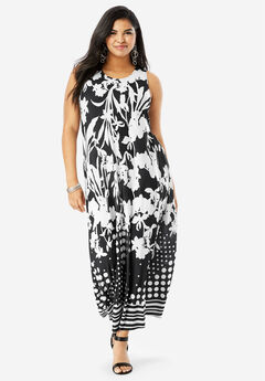 Print Maxi Dress, BLACK FLOWER MIX
