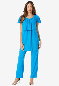 Flutter Sleeve Crinkle-Knit Gauze Tunic,