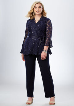 Lace Peplum Pant Set, NAVY, hi-res