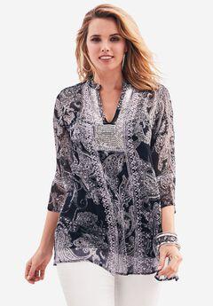 Three-quarter Sleeve Sequin Tunic, BLACK IVORY PAISLEY, hi-res