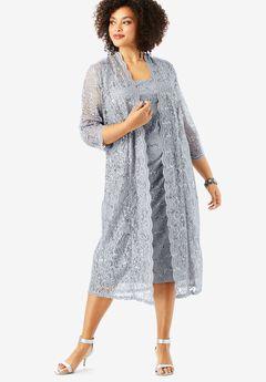 Flyaway Full Length Jacket Dress, SILVER SHIMMER