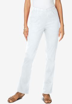 Straight-Leg Pull-On Stretch Jean by Denim 24/7®, WHITE DENIM