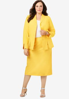 Two-Piece Skirt Suit with Shawl-Collar Jacket, LEMON MIST
