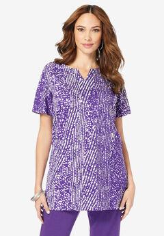 Print Notch-Neck Soft Knit Tunic,