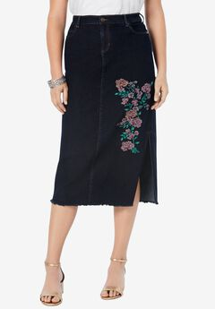 Embroidered Midi-Length Denim Skirt,