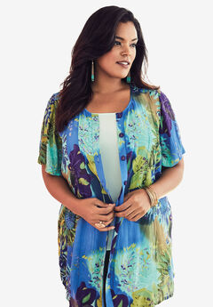 Angelina Tunic in Crinkle Crepe, BLUE GREEN FLORAL, hi-res