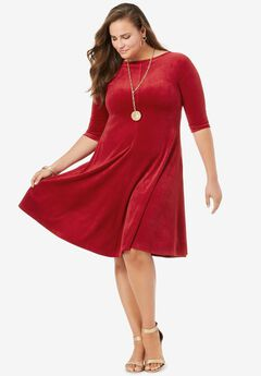 Velour Swing Drape Dress,