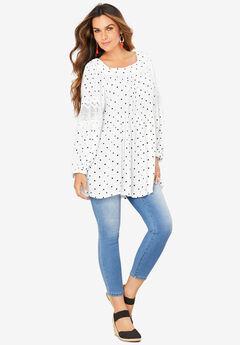Square-Neck Crinkle Big Shirt,
