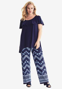 Travel Collection Cold Shoulder Top, NAVY, hi-res
